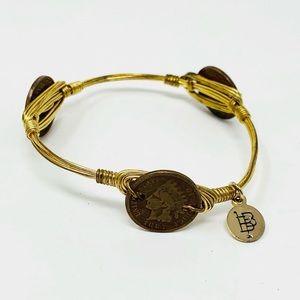 Bourbon and Boweties   Gold Coin Bangle Bracelet